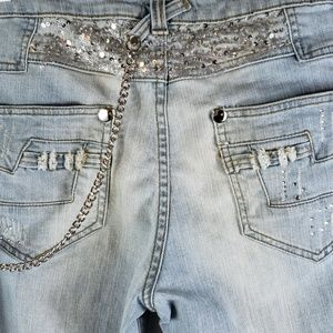 Cache Womens Jeans Distressed Embellishments Sz 12